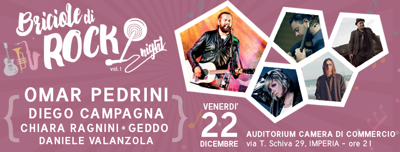 L'appunamento solidale in musica è il 22 dicembre a IMperia con Omar Pedrini, Diego Campagna, Chiara Ragnini, Geddo e Daniele Valanzola
