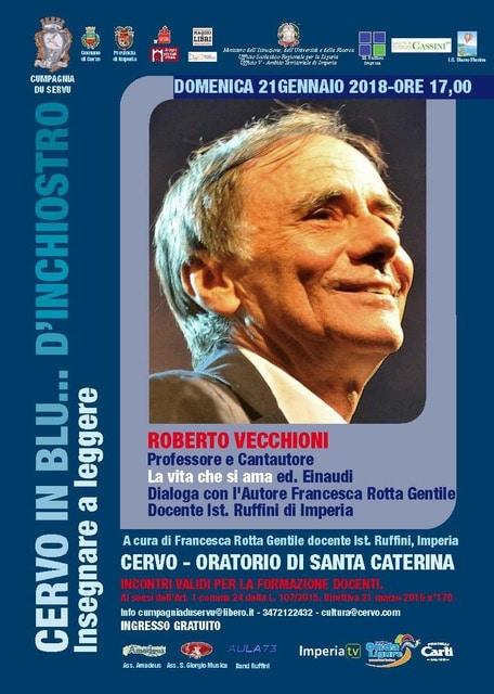 Domenica 21 gennaio Roberto Vecchioni ospite alla rassegna culturale Cervo in blu... d'inchiostro