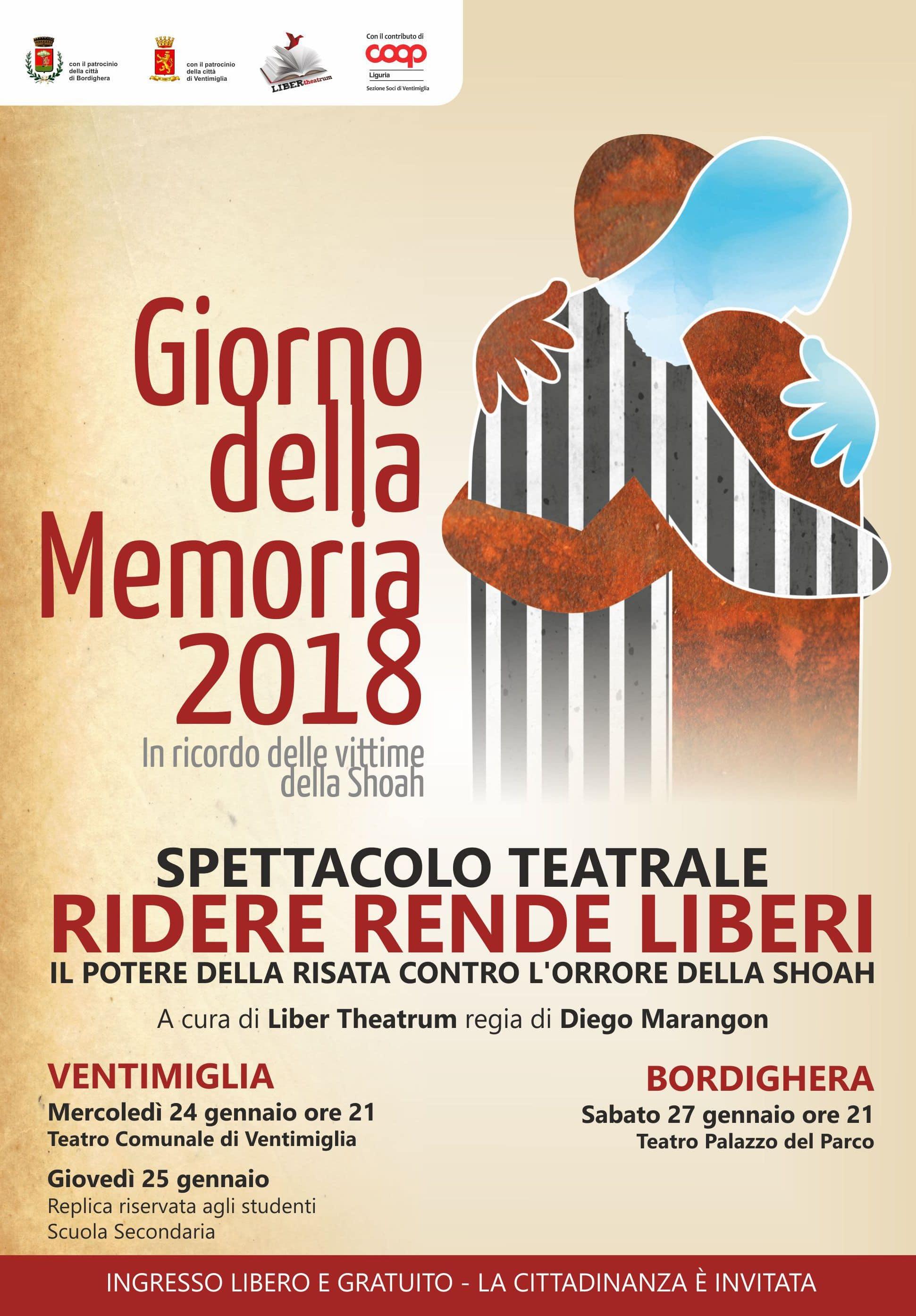 Anche quest'anno LIBER theatrum con la regia di Diego Marangon, sarà protagonista della Giornata della Memoria con un suo nuovissimo spettacolo teatrale – Ridere rende liberi – messo in scena,…