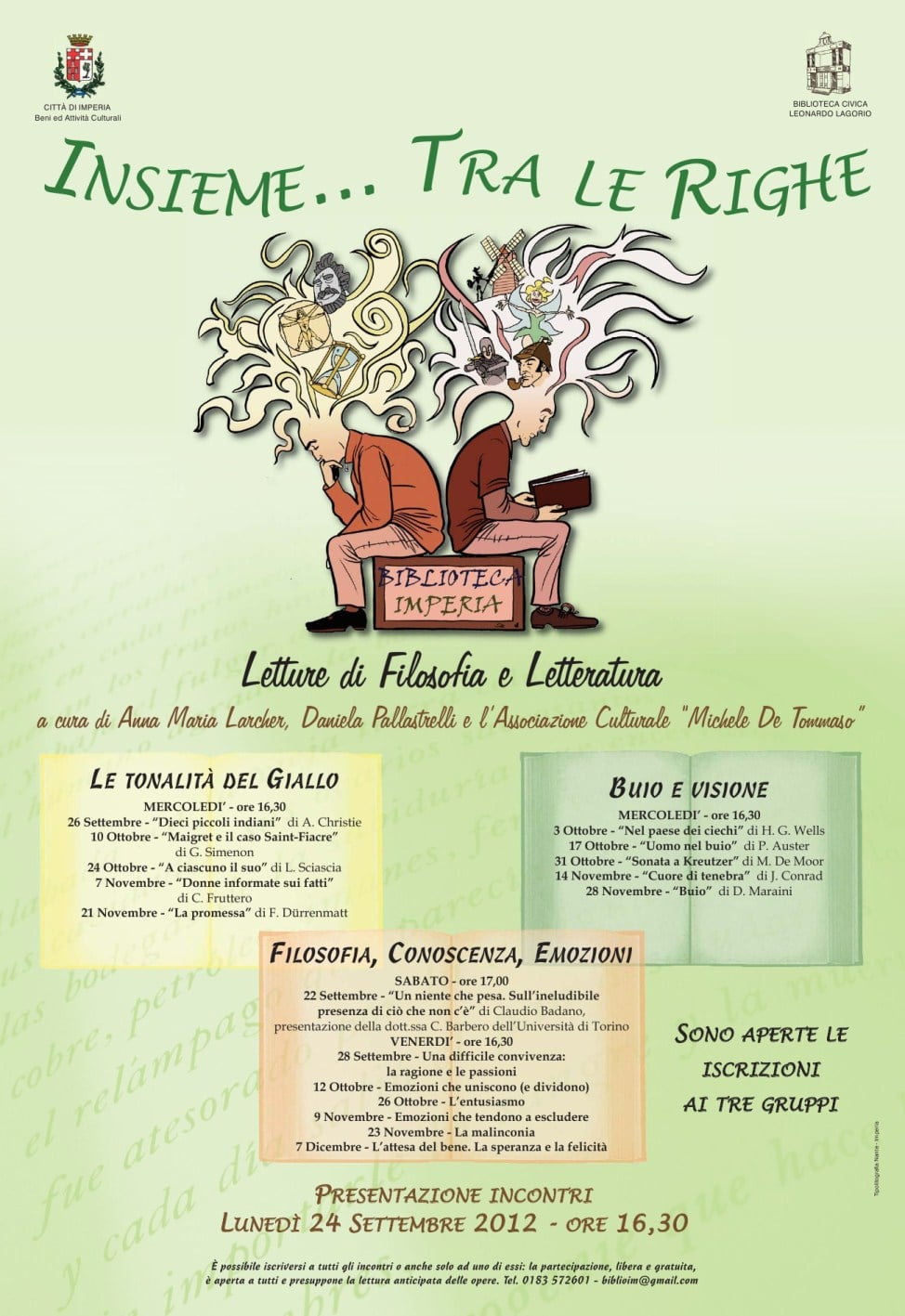 Presentati lunedì 24 settembre i nuovi gruppi di lettura dell'autunno 2012 organizzati dalla Biblioteca civica di Imperia Leonardo Lagorio