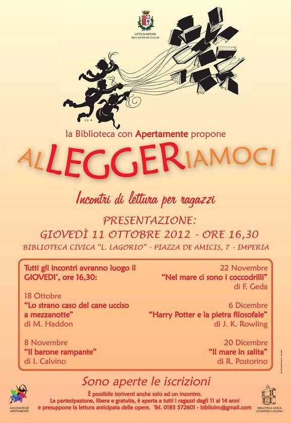 Sarà presentata giovedì 11 ottobre alla Biblioteca civica di Imperia l'iniziativa legata alla lettura e organizzata in collaborazione con Apertamente