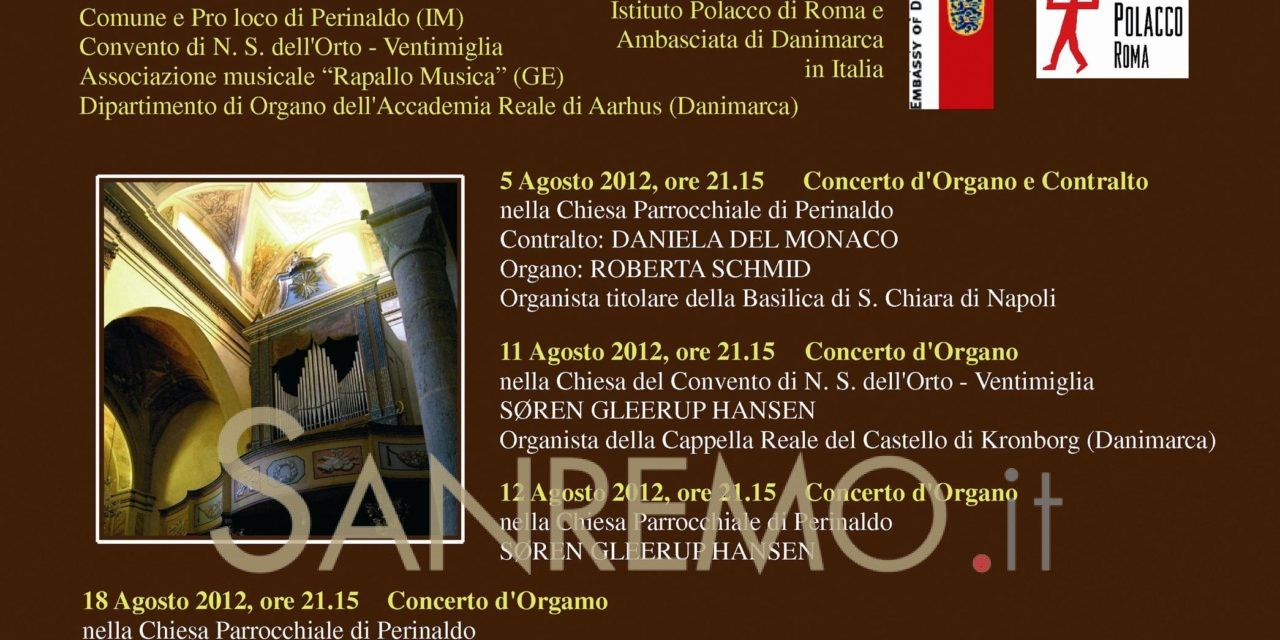 """Perinaldo: iniziato il 5 agosto il VIII Festival Organistico Internazionale """"Agati in Concerto"""""""