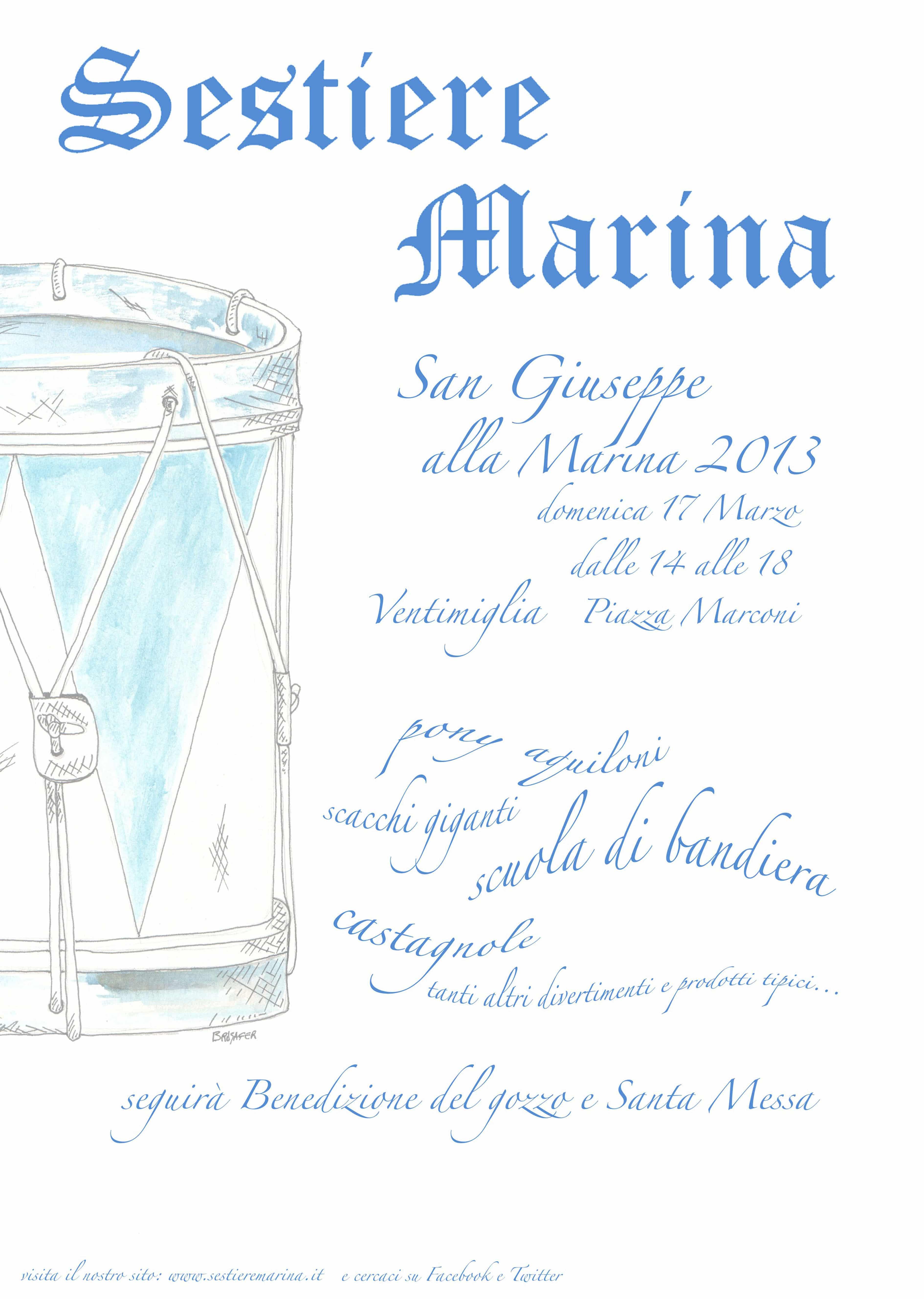 In occasione della prossima giornata di San Giuseppe, il Sestiere Marina organizza per domenica 17 marzo in piazza Marconi una grande festa dedicata al Santo Patrono del borgo marinaro intemelio.…