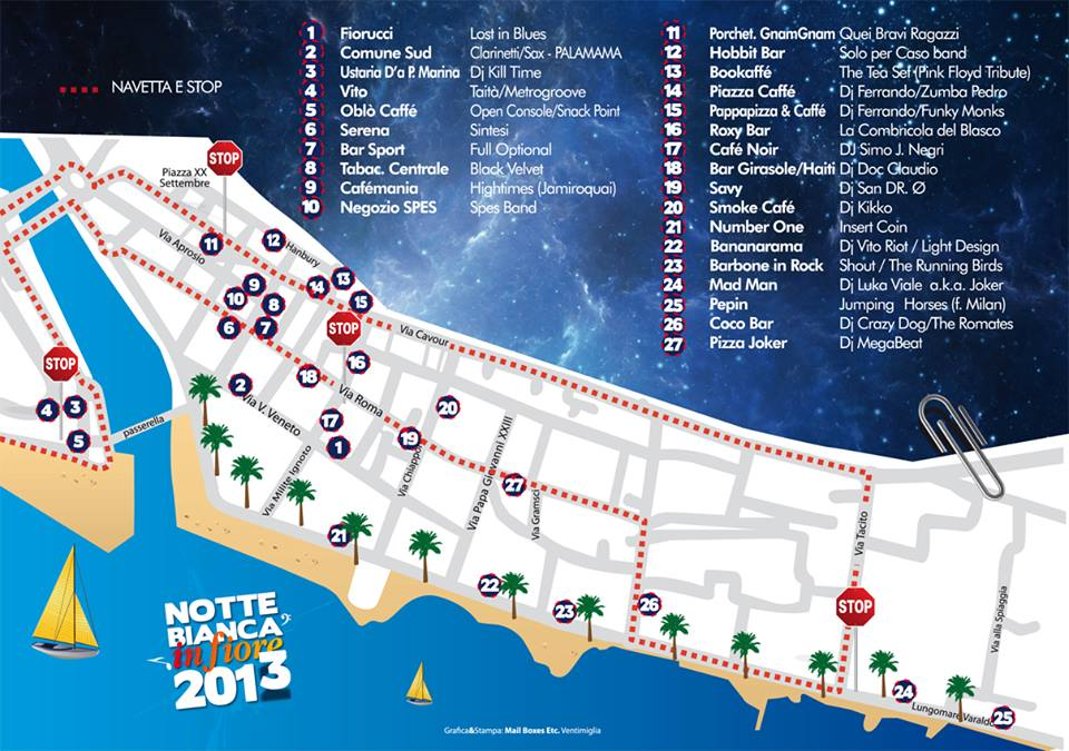 Ecco la mappa dei locali che parteciperanno alla Notte Bianca in fiore sabato 16. Oltre a quelle in foto ci sono tre news entry: n. 28 BARLUME che organizza una…