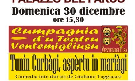"""Bordighera: il 30 Dicembre """"Matinèe"""" d'u Teatru Ventemigliusu"""