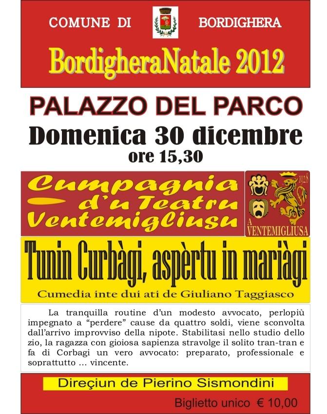 """Luogo della rappresentazione il """"Palaparco"""" di Bordighera. Orario di inizio alle 15.30. I dettagli."""