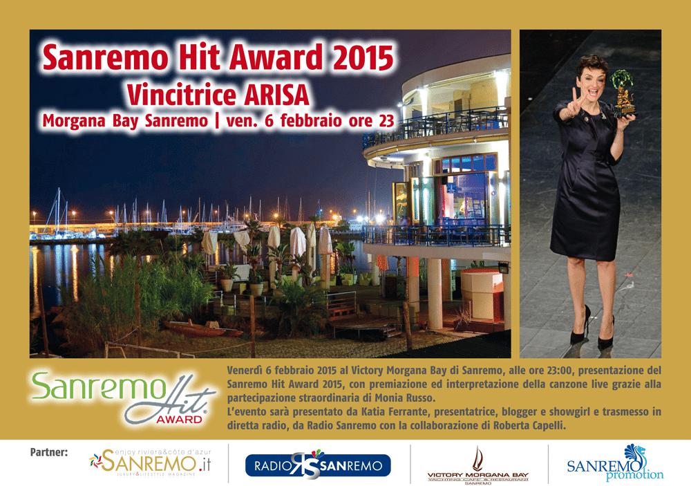 Questa sera al Victory Morgana Bay di Sanremo, a partire dalle ore 23, premiazione del Sanremo Hit Award 2015 con la straordinaria presenza diARISA. Diretta su Radio Sanremo anche su…