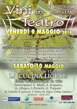Venerdì 9 e sabato 10 maggio degustazioni itineranti a Sanremo