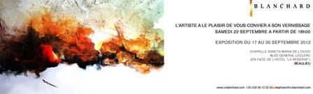 Stéphane BLANCHARD e le sue opere pittoriche, frutto questa volta di un viaggio immaginario compiuto tra l'astratto e la bruciante realtà, un confronto tra il mondo apparente e quello immaginario…