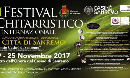 Festival chitarristico internazionale di Sanremo: si parte il 19 novembre