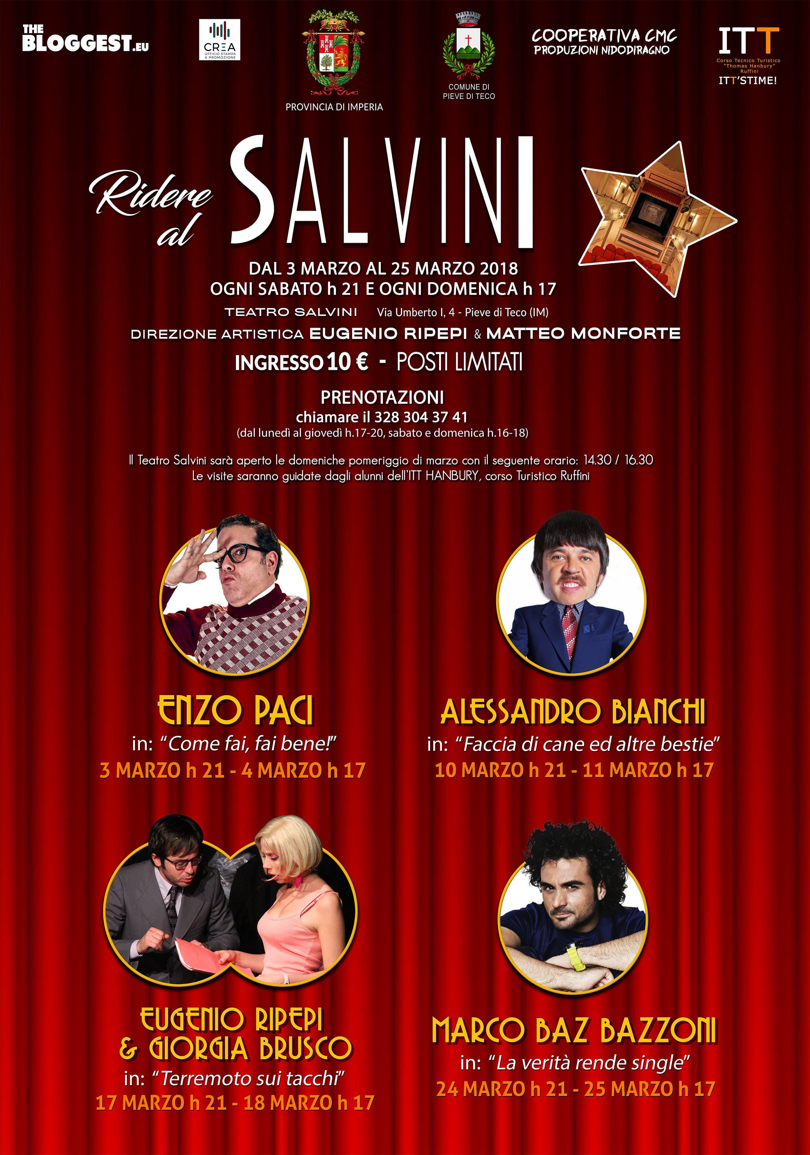 Dal 3 marzo su il sipario sulla rassegna comica di spettacoli ospitati dal Teatro Salvini di Pieve di Teco