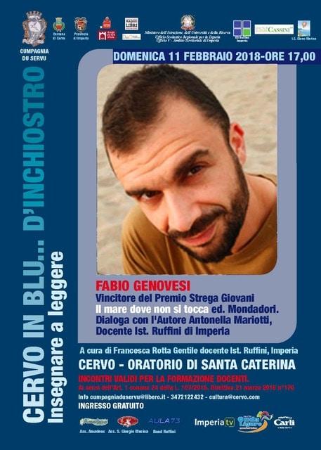 Domenica 11 febbraio Fabio Genovesi ospite a Cervo in blu d'inchiostro