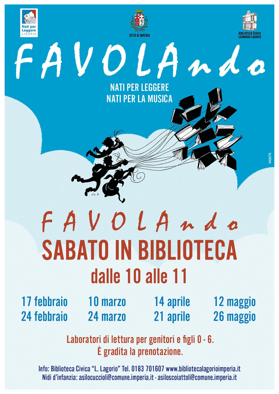 Inaugura sabato 17 febbraio il progetto Favolando dedicato ai bambini presso la Biblioteca civica Lagorio di Imperia