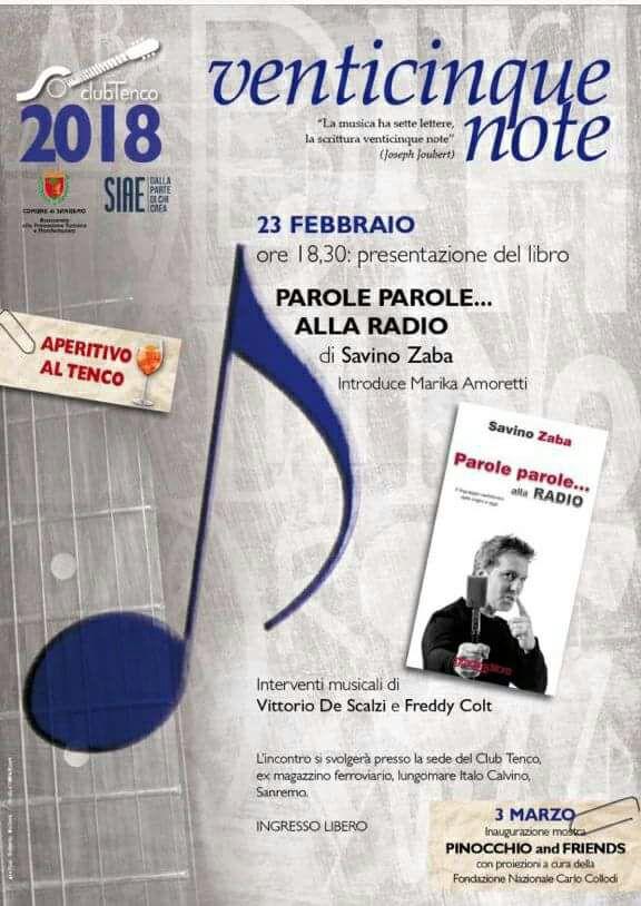Savino Zaba presenta il suo libro dedicato al linguaggio radiofonico venerdì 23 febbraio alle 18.30 al Club Tenco di Sanremo