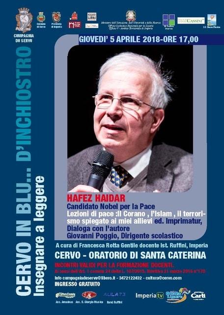 Giovedì 5 aprile il candidato al Premio Nobel per la pace Hafez Haidar ospite a Cervo in blu...d'inchiostro