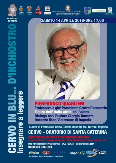 Sabato 14 aprile Pier Franco Quaglieni ospite della rassegna letteraria Cervo in blu...d'inchiostro